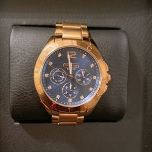 Coach gold watch w navy face and Swarovski crystal
